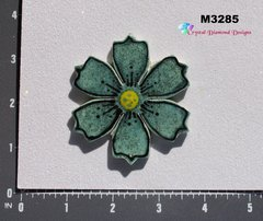 Teal Shimmer Flower Small  Handmade Mosaic Tiles for your Projects M3285