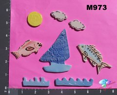 Sail Boat and Fish Handmade Mosaic Tiles M973