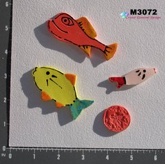 3 Assorted Fish and a Shell Handmade Mosaic Ceramic Tiles M3072
