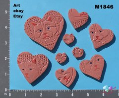 9 Assorted Hearts Handmade Mosaic Ceramic Tiles For your Projects M1846