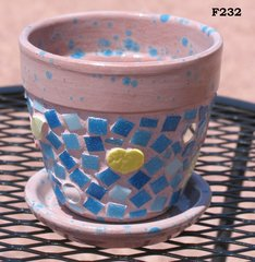 Gardening Flower Pot Planter Handmade Flower & Heart also Glass tiles Mosaic Planter F232