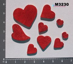 9 Assorted Glitter Hearts Handmade Mosaic Ceramic Tiles For your Projects M3230