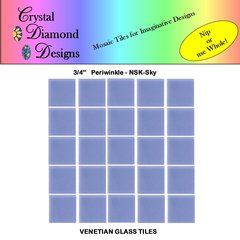 "50 - 3/4"" Venetian Periwinkle Sky Blue Glass Mosaic Tiles for your Project PERSK"