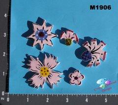 5 Pink Flowers Handmade Mosaic Tiles M1906