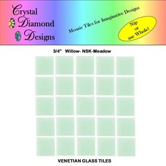 "50 - 3/4"" Venetian Willow Meadow Green Glass Mosaic Tiles for your Project WILME"