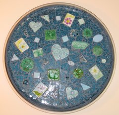 TEMPERED GLASS BEACH MOSAIC TRAY WITH HANDMADE TILES TR1030