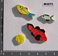 3 Assorted Fish and a Shell Handmade Mosaic Ceramic Tiles M3073