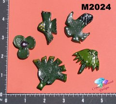 5 Green Flowers Handmade Mosaic Tiles For your projects M2024