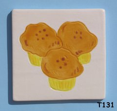 "3"" x 3""  Muffin Tile - Handmade ceramic Mosaic Tiles for your Projects T131"