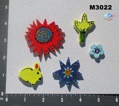 5 Assorted Flowers Handmade Mosaic Ceramic Tiles M3022