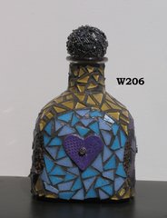 BOTTLE MOSAIC PATRON HEARTS - Hand Designed MOSAIC BOTTLE IS FOR YOUR HOME W206