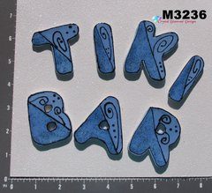 Tiki Bar Letters Handmade Mosaic Ceramic Tiles for your Projects M3236