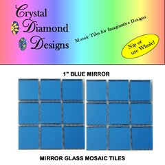 12 - 1 inch Blue Mirror Glass Mosaic Tiles for your mosaic Designs BLUM