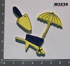 GARDENING TOOLS - HANDMADE CERAMIC TILES FOR USE in your MOSAIC DESIGNS M3239
