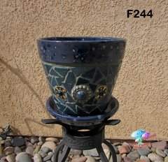 BLUE MOSAIC FLOWER POT - HANDMADE TILES Look great in your Home F244