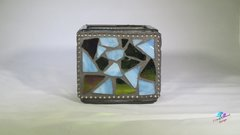 Blue Mosaic Candle Holder Handmade with Stain Glass CAN100