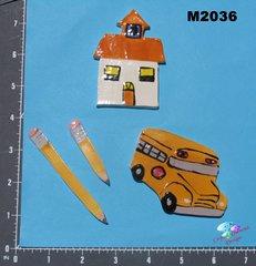School, Bus, Pencils Tiles Handmade Mosaic Ceramic Tiles M2036