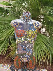 Warrior Man Mosaic Torso Sculpture Mannequin Hand Design by Artist MA101