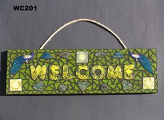 Peacock Welcome Mosaic House Sign HANDMADE with a lot of BEAUTIFUL THINGS WC201