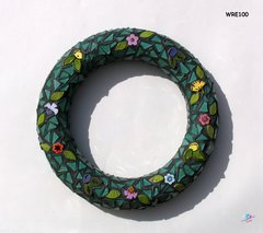 Wreath Mosaic Handmade with Handmade tiles and Glass Tiles WRE100