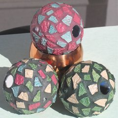 Teal and Rose Mosaic Gazing Ball Set Handmade Mosaic Great for your Yard G221