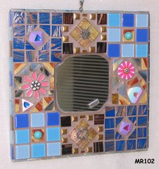 Pretty Retro in Blue Handmade Mosaic Wall Mirror Look Great on your Wall - MR102