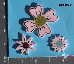 3 Pink Flowers Handmade Mosaic Tiles M1897