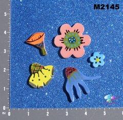 5 Assorted Flowers Handmade Mosaic Tiles M2145