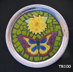 Butterfly Silver Mosaic Tray Handmade Tiles Look Nice on the table in your Home TR100