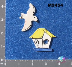 Bird and Bird House Handmade Mosaic Ceramic Tiles M2454
