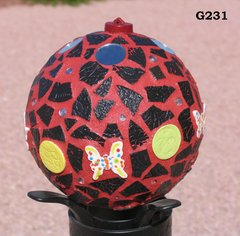 "Red and Black 6"" - Handmade Mosaic Gazing Ball For Your HOME inside or out G231"