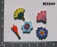 5 Assorted Flower Handmade Mosaic Ceramic Tiles For your Projects M3244