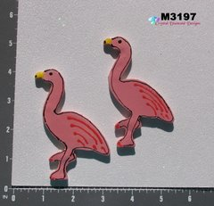 2 Flamingos Birds Handmade Mosaic Ceramic Tiles for your Mosaic Projects M3197