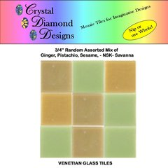 "50 - 3/4"" Venetian Savanna Blend Glass Mosaic Tiles for your Project AMOSA"