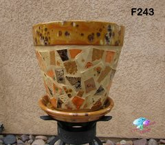 MOSAIC FLOWER POT - all HANDMADE TILES Look great in your Home F243