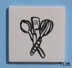 "3"" x 3""  Utensils  Tile - Handmade ceramic Mosaic Tile For your Projects T135"