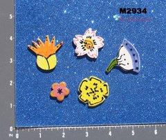 5 Assorted Flowers Handmade Mosaic Tiles M2934