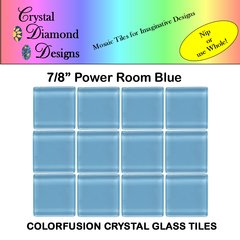 "12 - 7/8"" Powder Room Blue Crystal Glass Mosaic Tiles for your Mosaic Designs PORPBL"