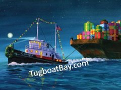 """Barge full of Blessings"" Tugboat Holiday Card #2"