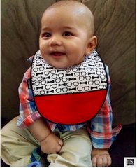 -Handcrafted Triple Layer, Black & White Bows and Glasses with Red Crumb Catcher Baby Bib