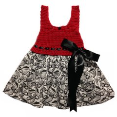 Handcrafted - Cotton Crocheted Top and Cotton Lower Bottom Sneaker Fabric Dress