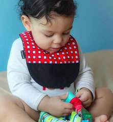 -Handcrafted Triple Layer Red with White Squares Baby Boy Bib with Black Pocket