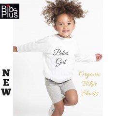 -Organic Heather Grey/Lemon Bicycle Print Biker Shorts