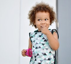 Handcrafted - Geometric Mint Gender Neutral Full Coverage Baby/Toddler Apron