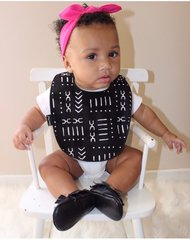 -Handcrafted Triple Layer Black & White Mudcloth Cotton Bib