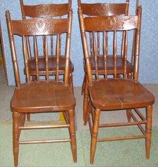 Vintage/Antique Set of (4) Bleeding Heart Chairs B4060