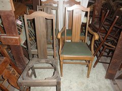 B5395  Vintage/Antique Set of 5 Chairs with upholstered Seats
