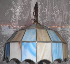 Light--Stained Glass Blue/Tan Shade B4486
