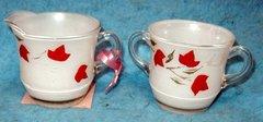 Glass Creamer and Sugar Set,-Leaf Design B527