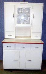 Vintage Antique Hoosier Cabinet -White Paint B3735